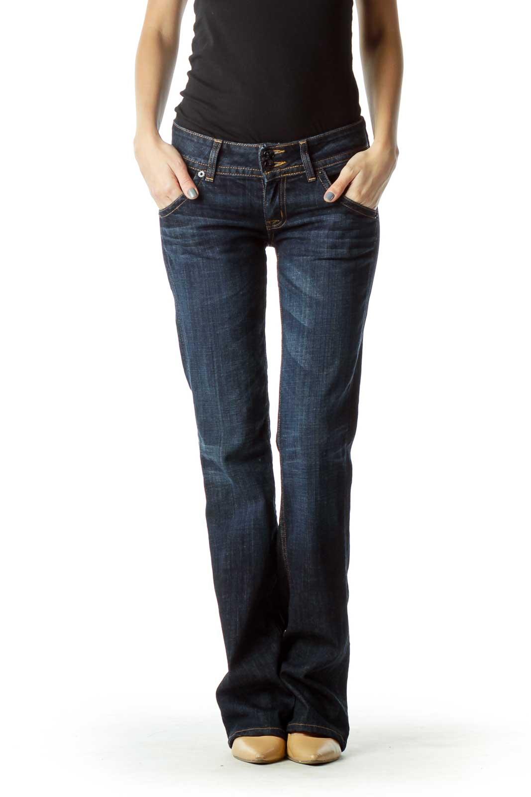 Dark Wash Flared Jeans Front