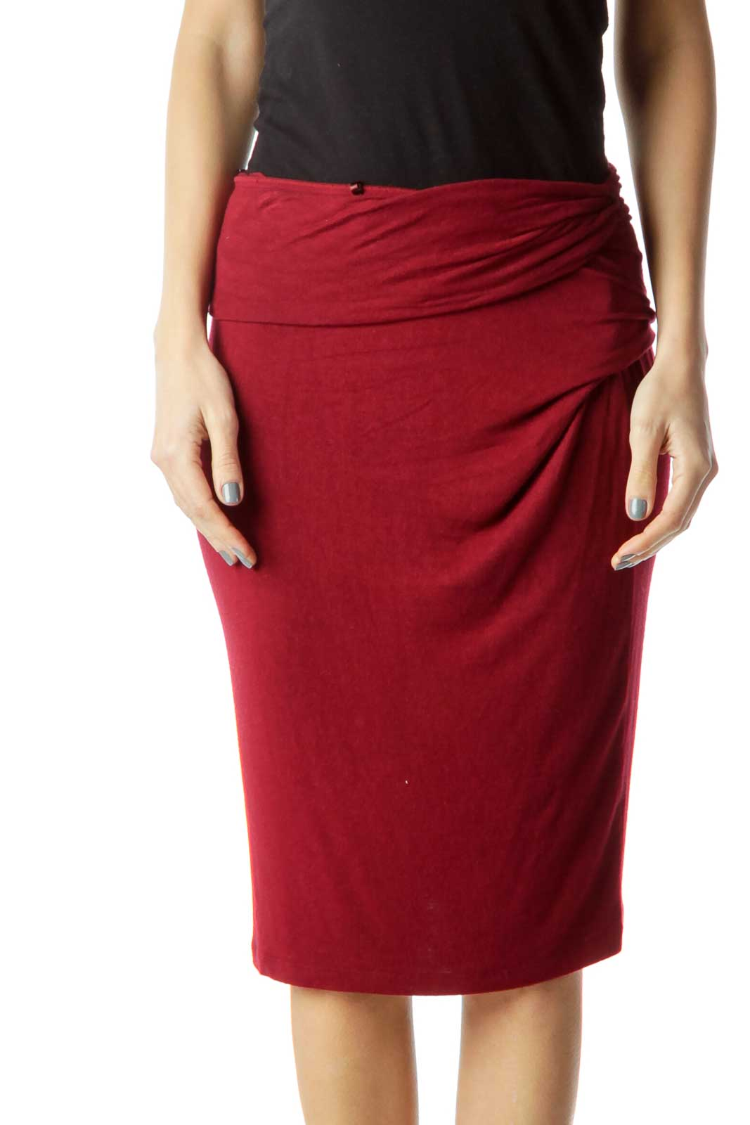 Red Wrap Pencil Skirt Front