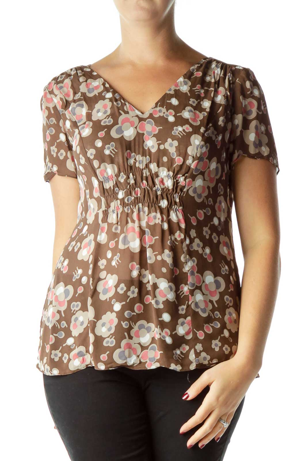 Brown Print Sheer Blouse  Front