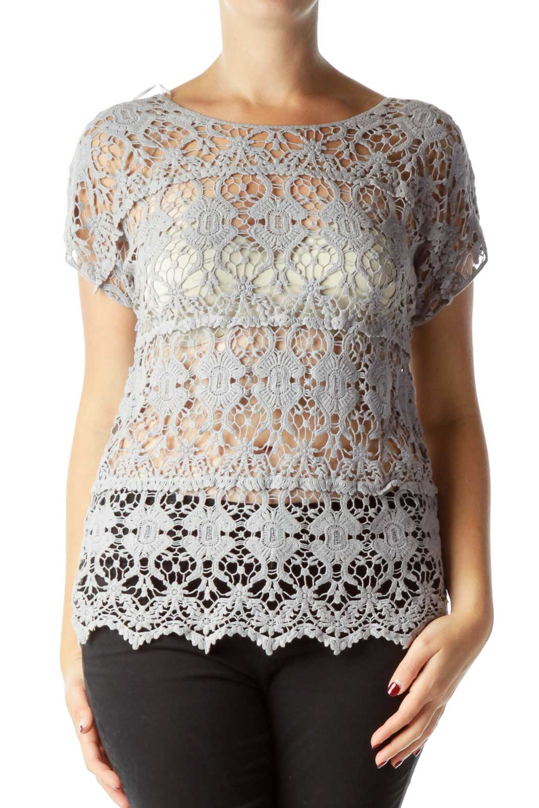 Gray Lace Short Sleeve Top Front