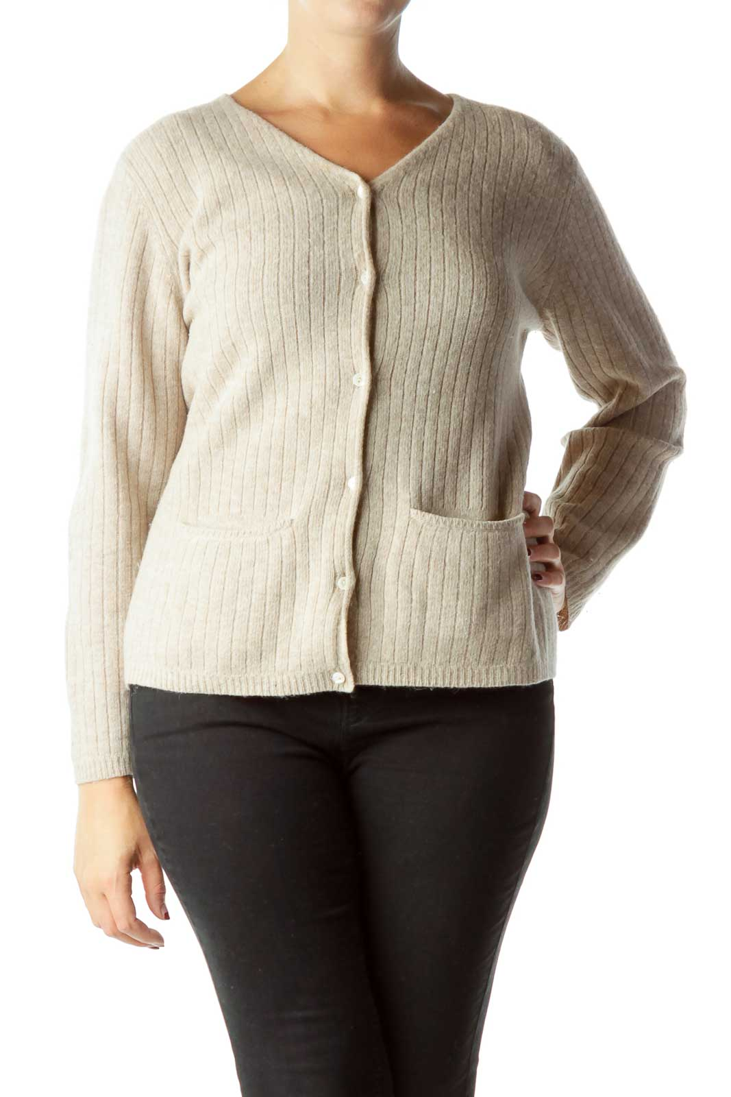 Beige Cable Knit Cardigan Front