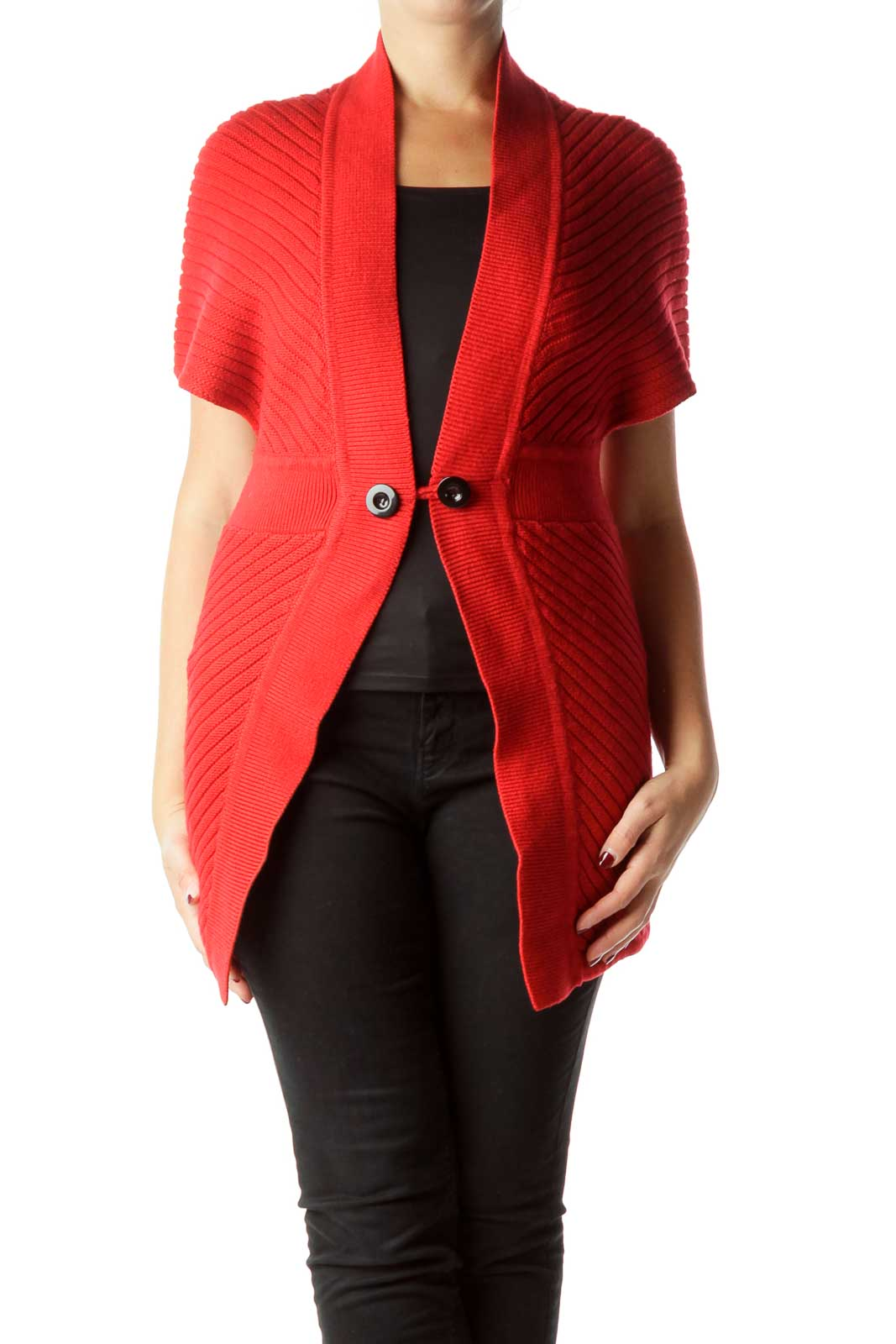 Red Cable Knit Long Cardigan Front
