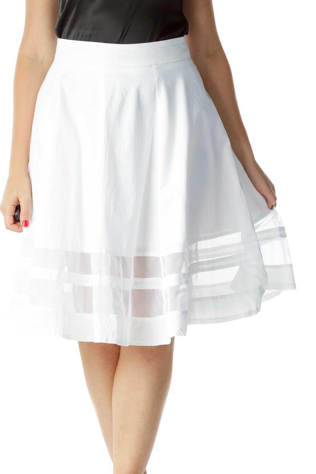 White Flared Sheer Skirt Front