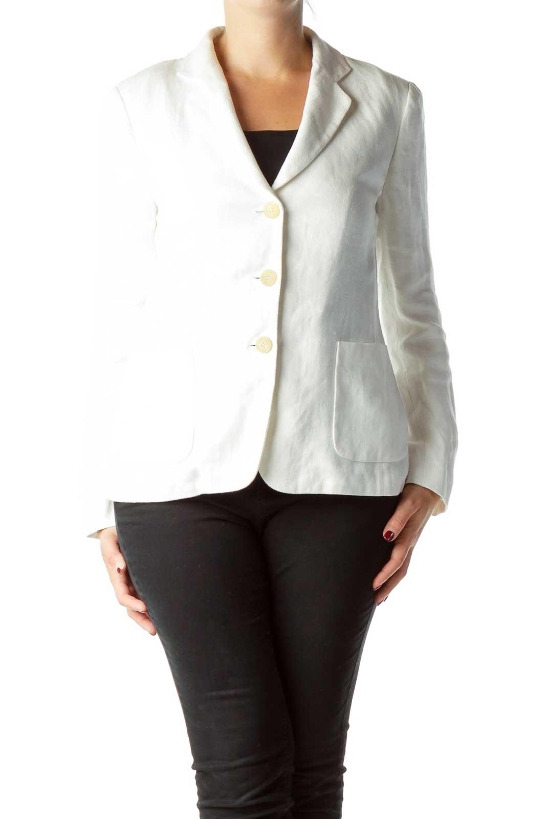 White Linen Pocketed Blazer Front