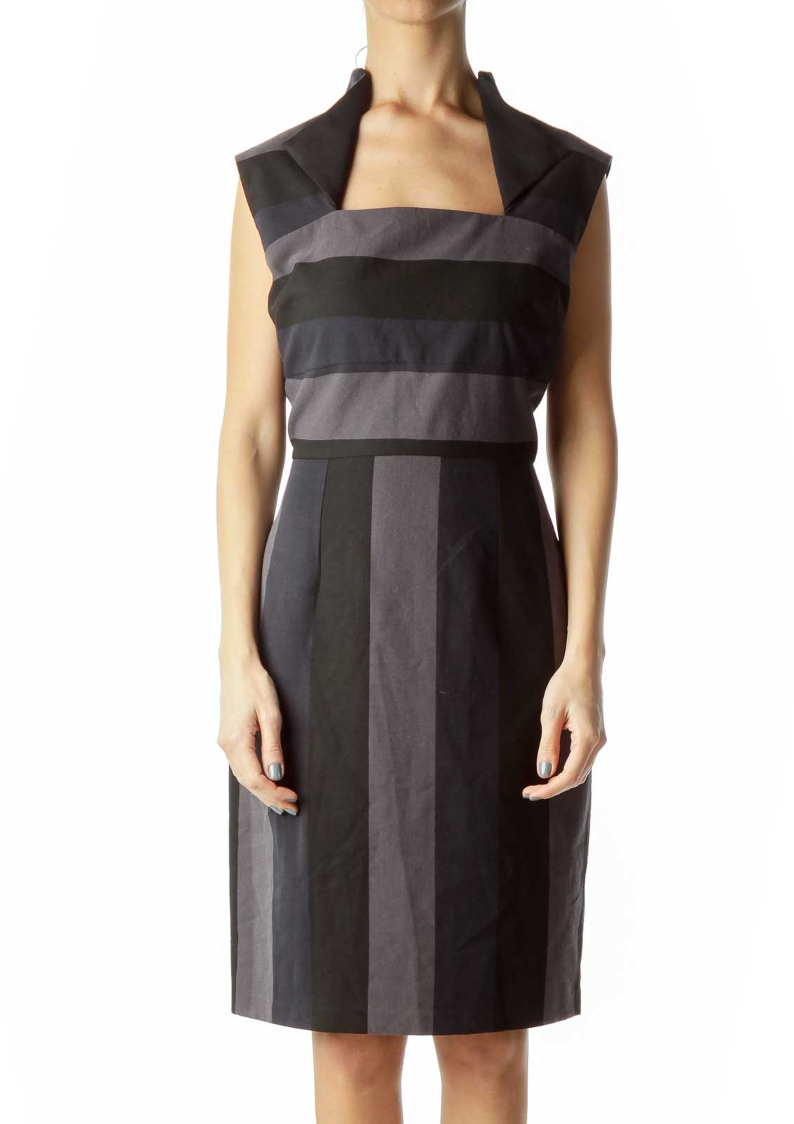 Black Navy Gray Striped Sheath Dress with Collar Front