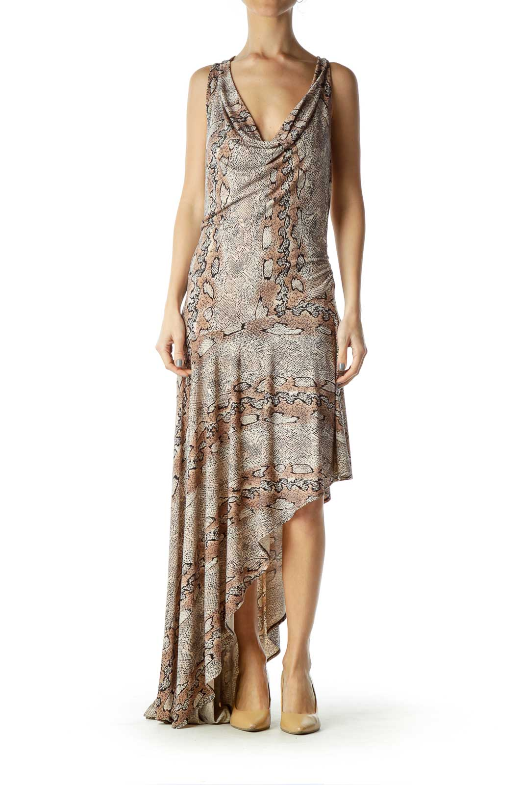 Beige Animal Print Asymmetric Maxi Dress Front