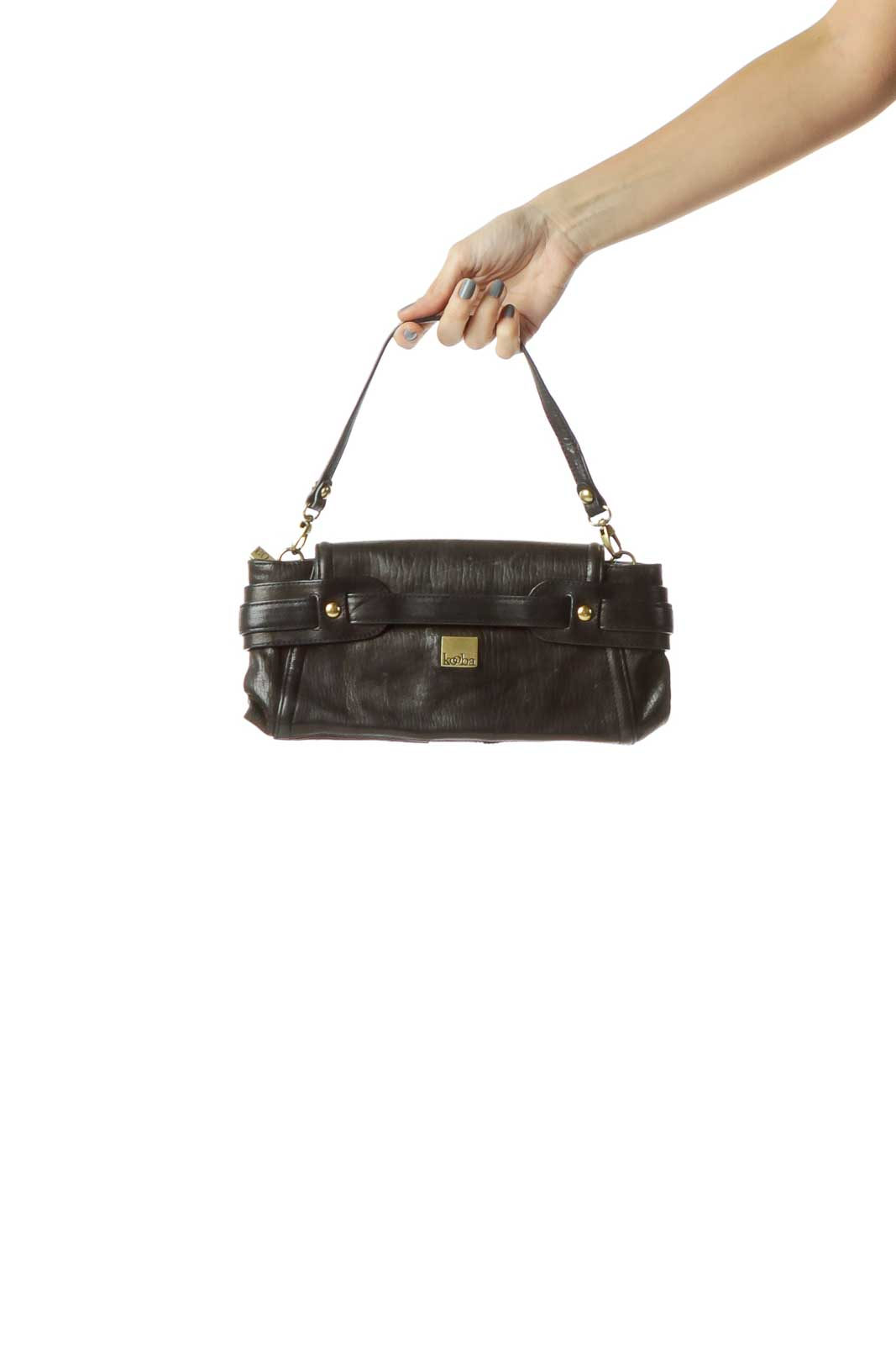Black Buckle Detail Clutch with Strap Front