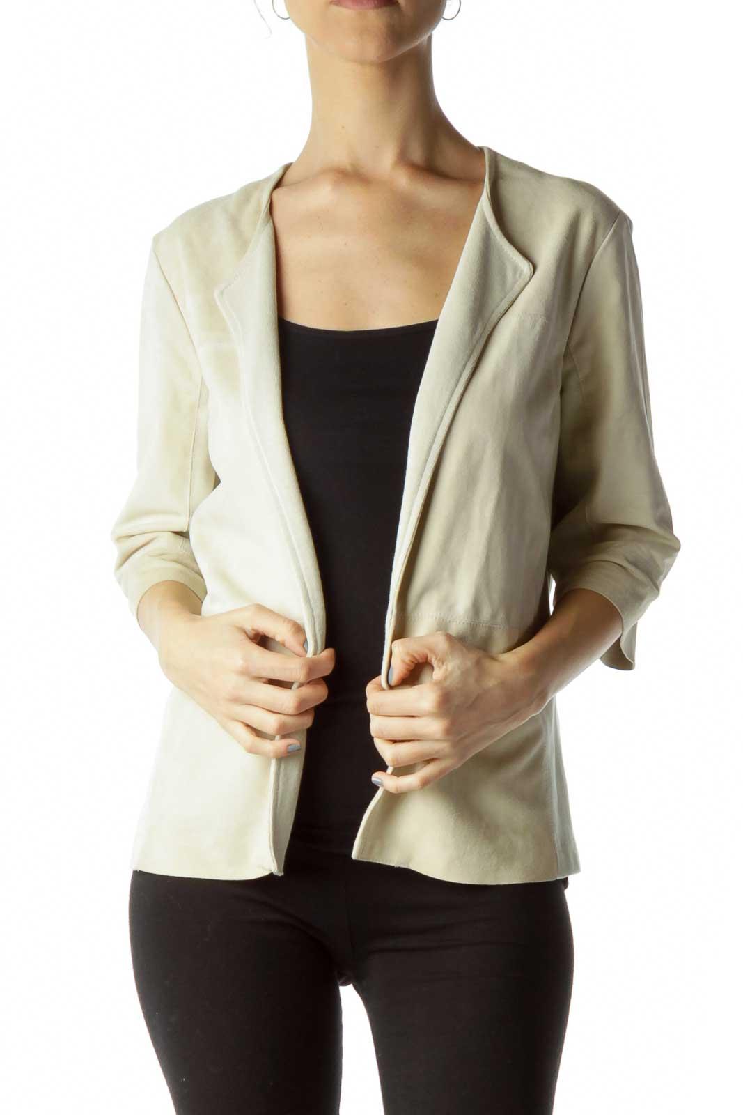 Beige Suede Cropped Sleeve Jacket Front