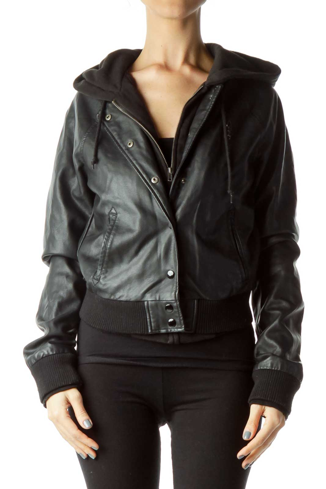 Blacked Hooded Faux-Leather Jacket Front