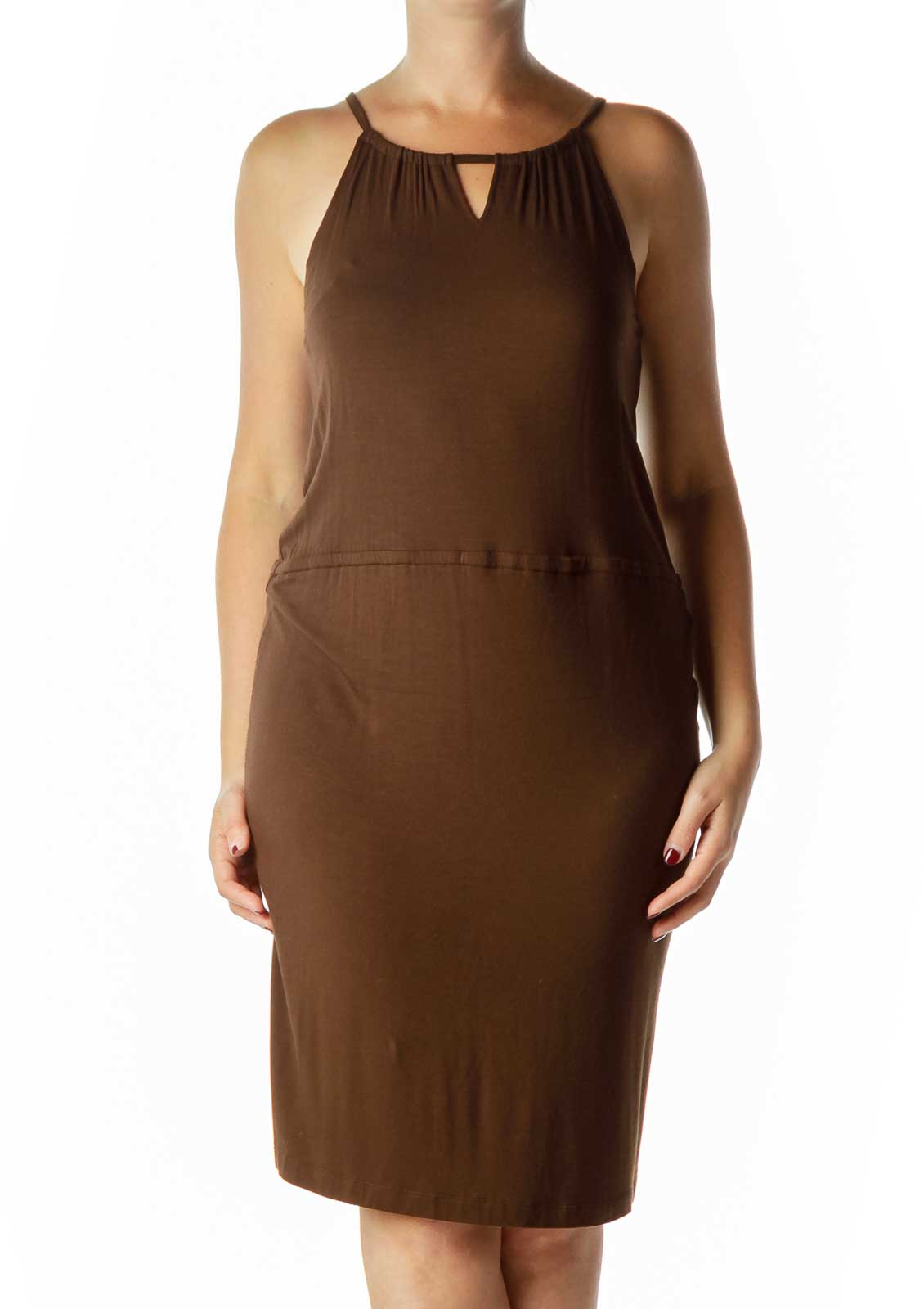 Brown Jersey Spaghetti Strap Day Dress Front
