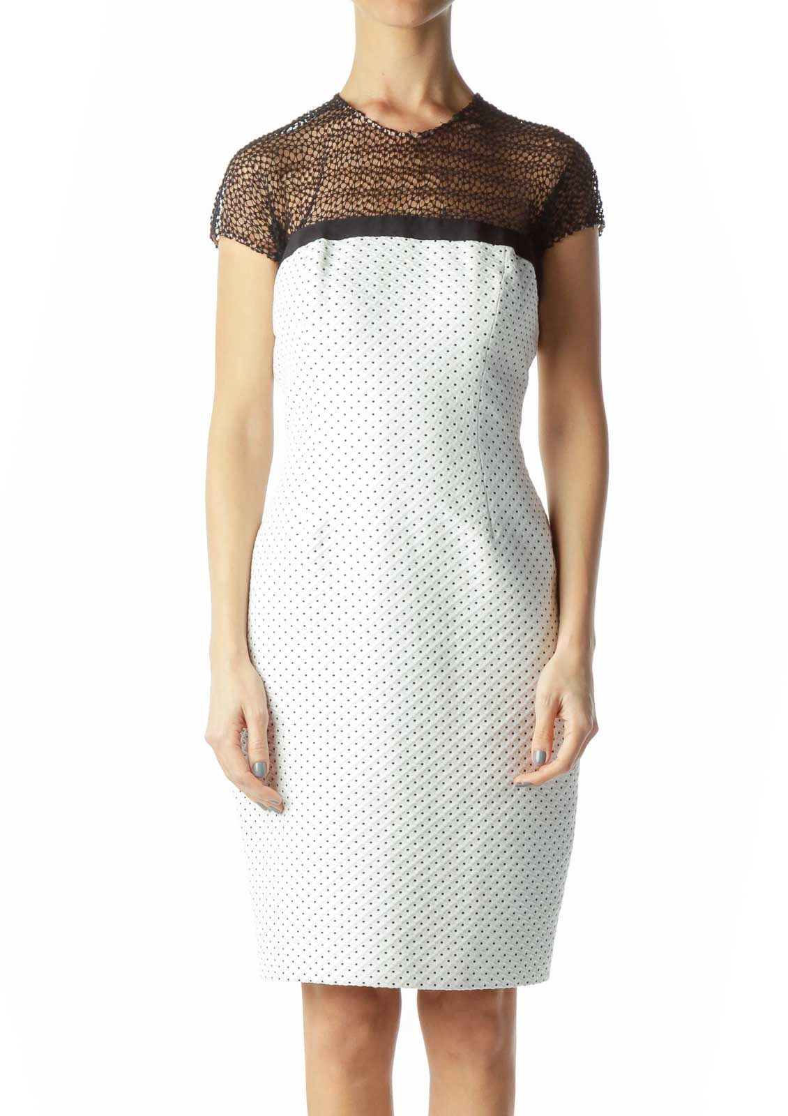 Cream Cocktail Dress with Lace Collar Front
