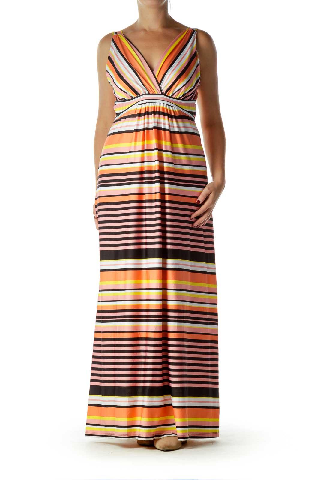 Orange Pink Striped Maxi Dress Front