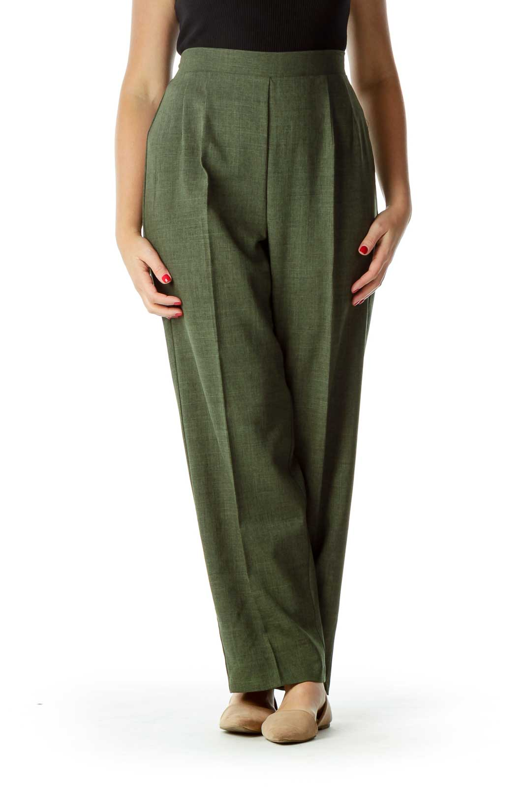 Green Pleated Suit Pants Front
