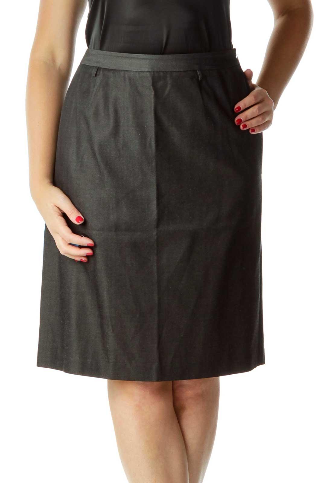 Black Denim & Silk Pencil Skirt Front