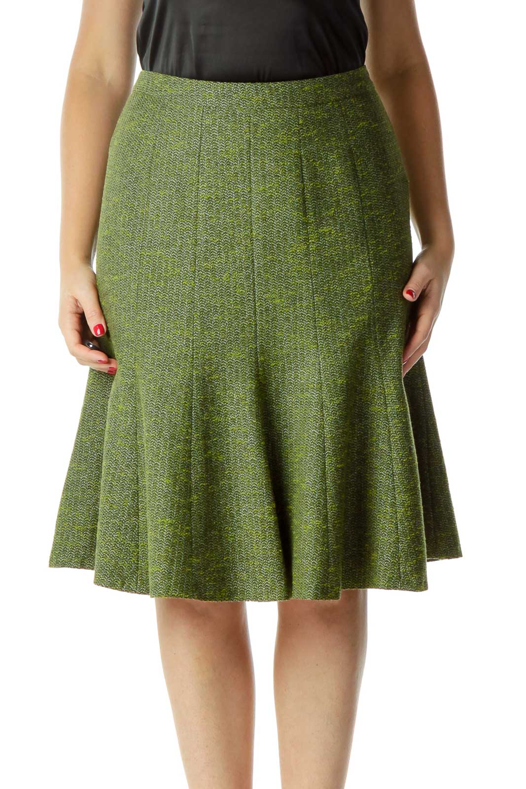 Green Tweed Pleated Skirt Front