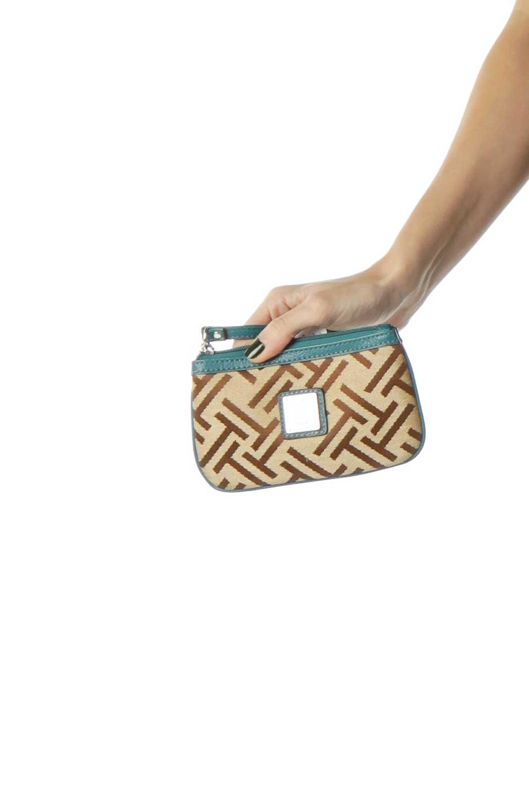 Green Brown Mini Clutch Monogram Bag Front