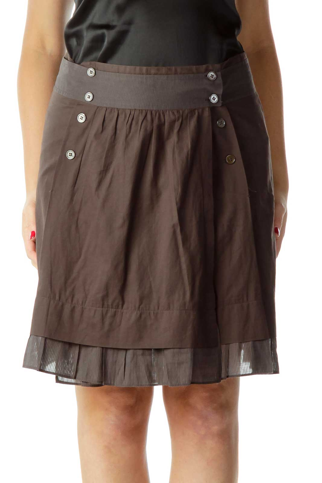 Brown Buttoned Pleated Skirt Front