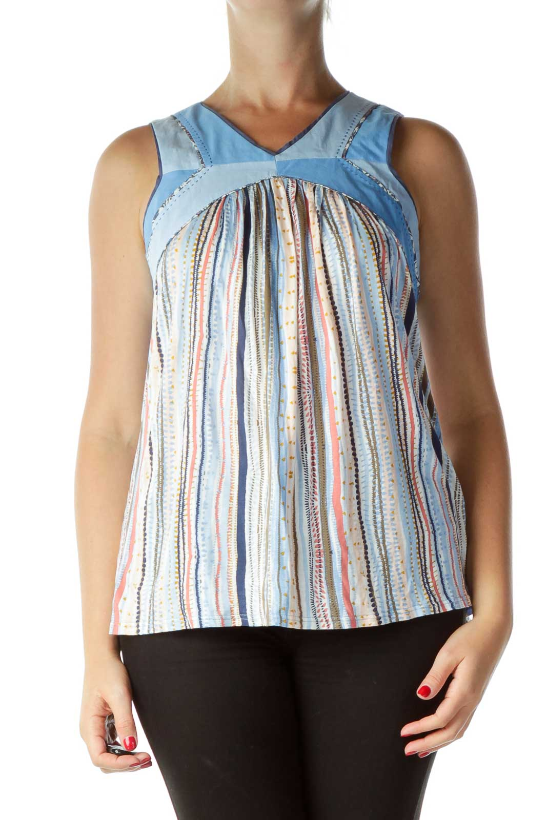 Blue Printed Sleeveless Top Front