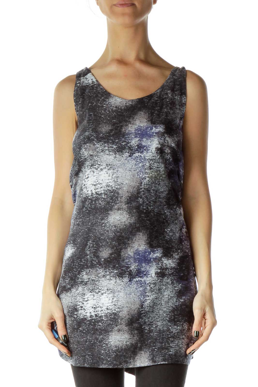 Gray Blue Printed Shift Jersey Dress Front