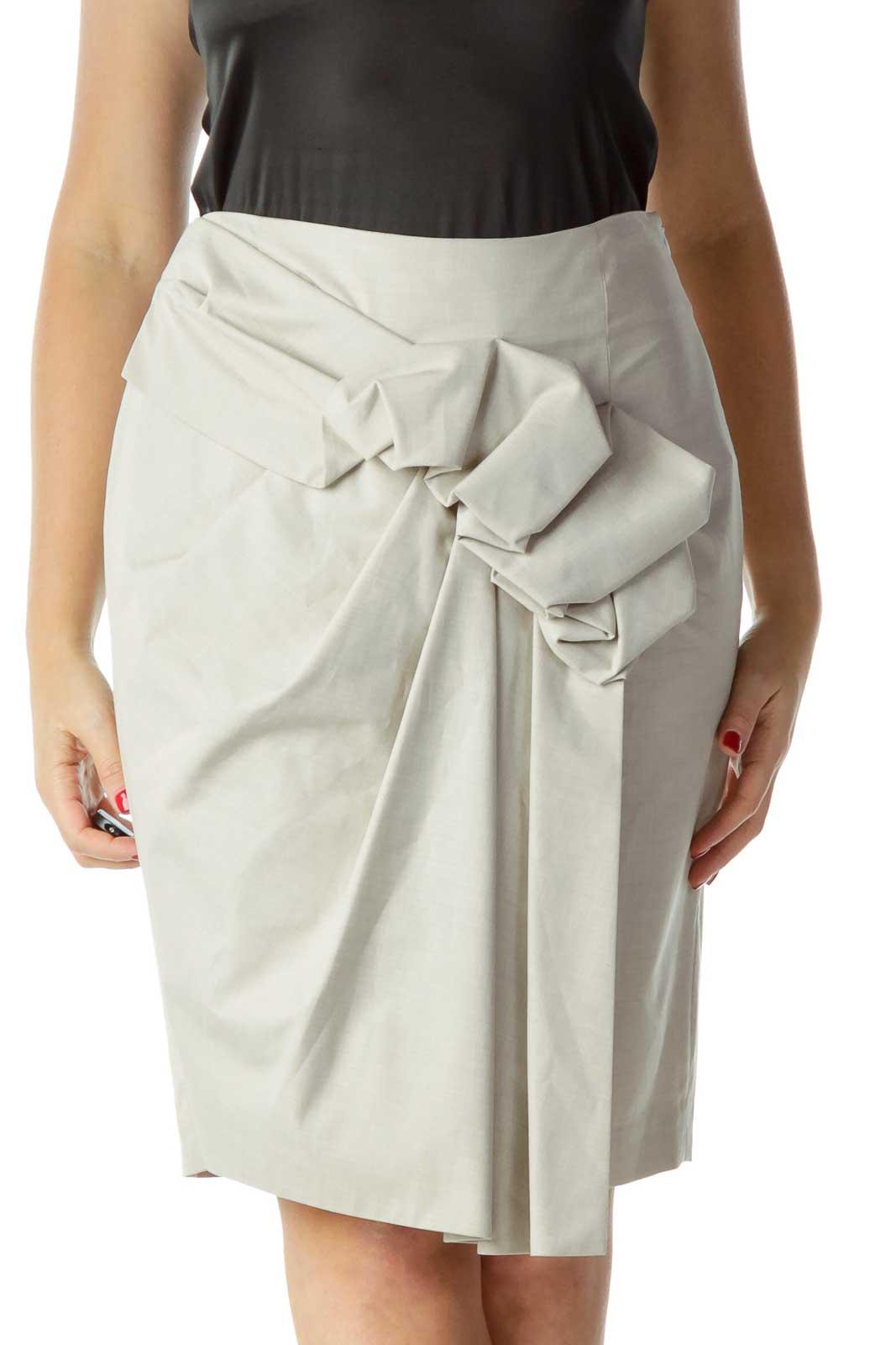 Gray Ruffled Pencil Skirt Front
