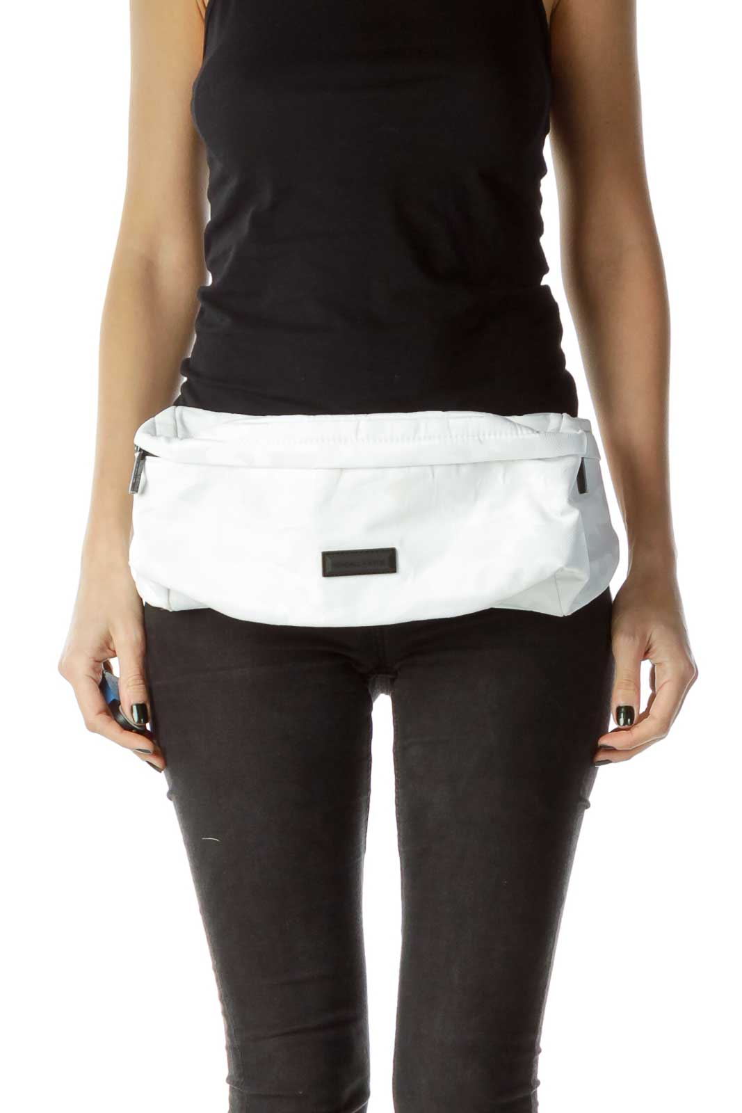 Black White Cameo Fanny Pack  Front