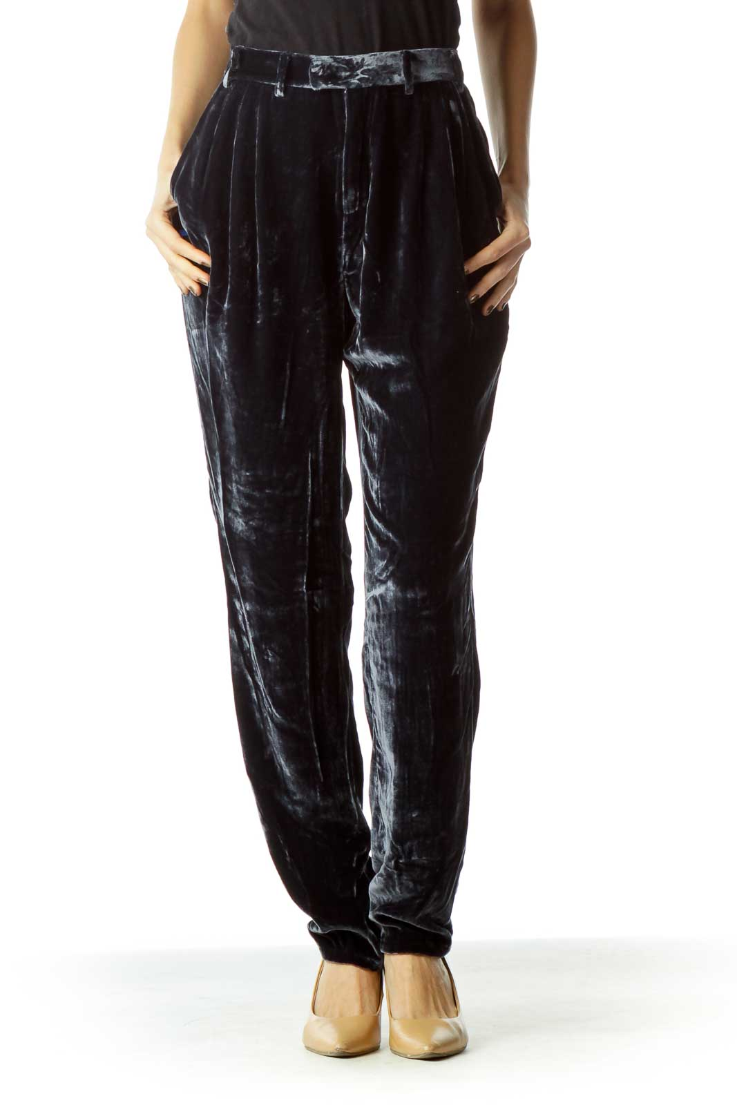 Dark Blue Velvet Pocketed Pants Front