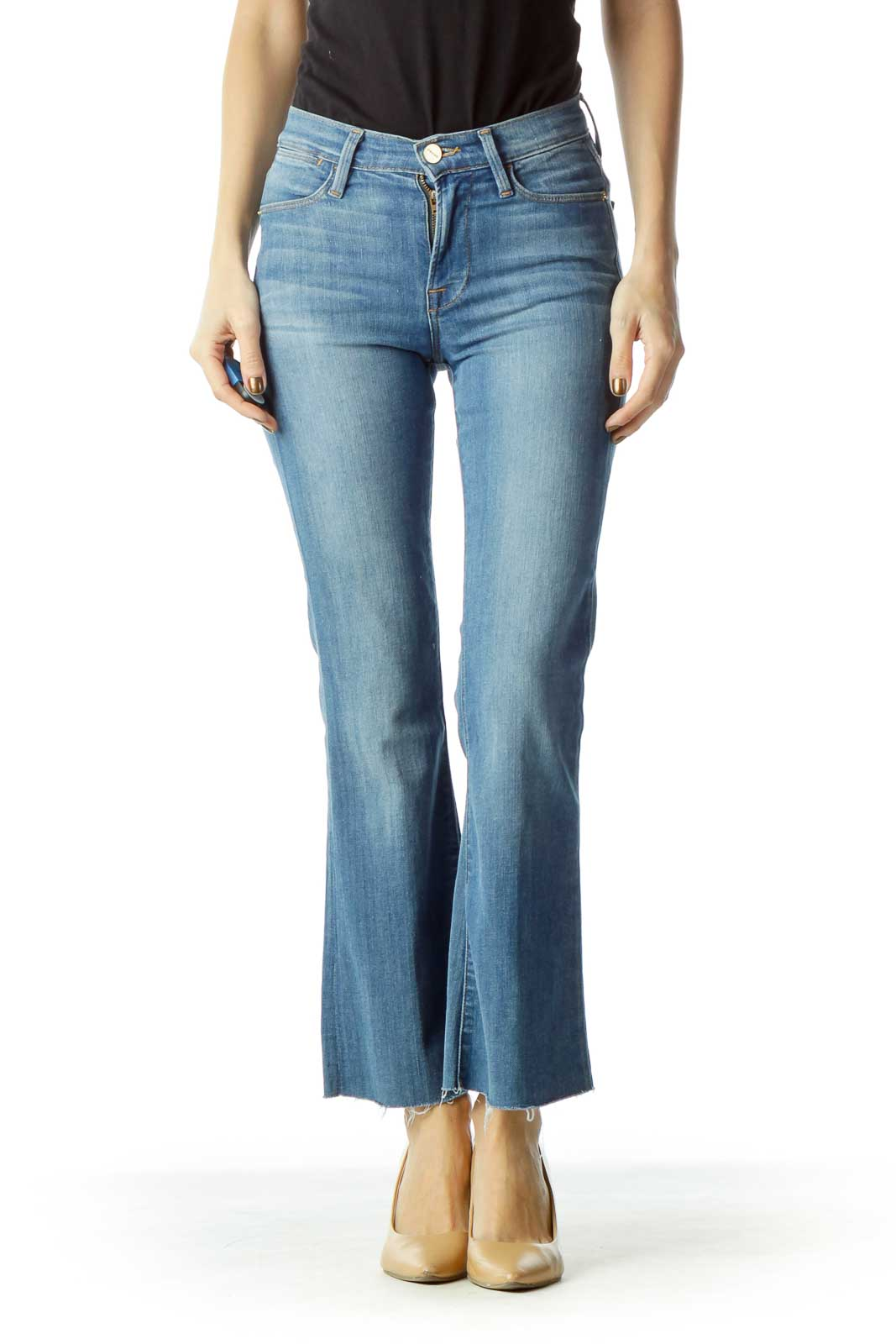 Blue High-Waisted Flared Jeans Front
