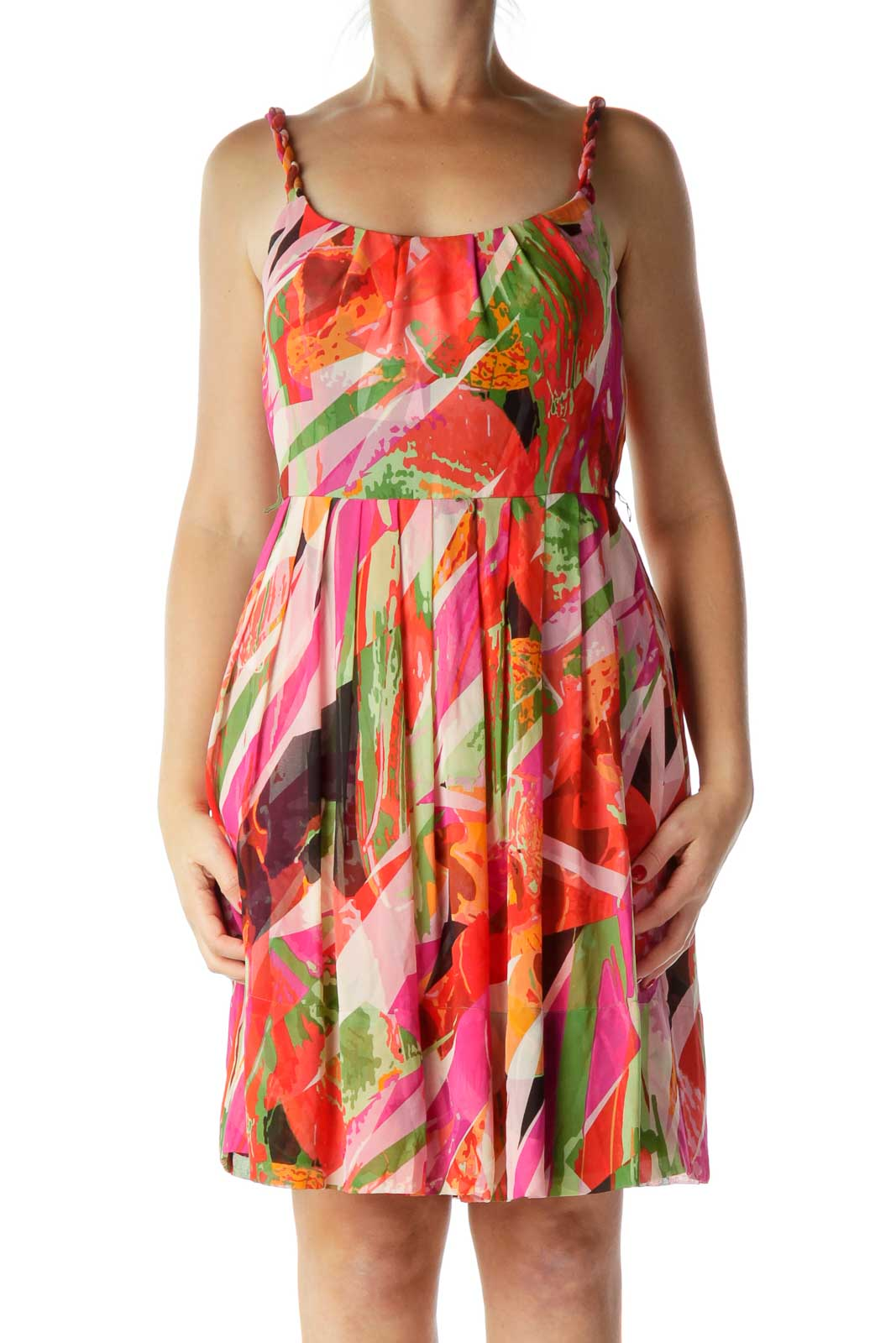 Orange Print Silk A-Line Dress Front