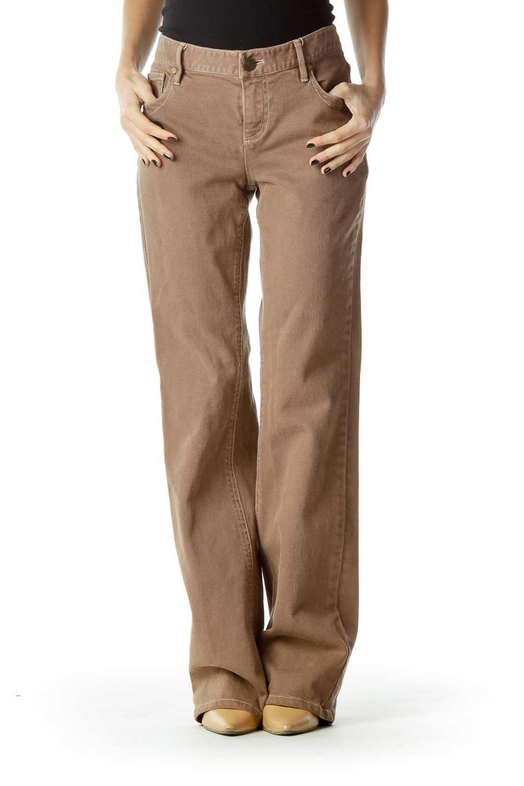 Brown Denim Flared Jeans Front