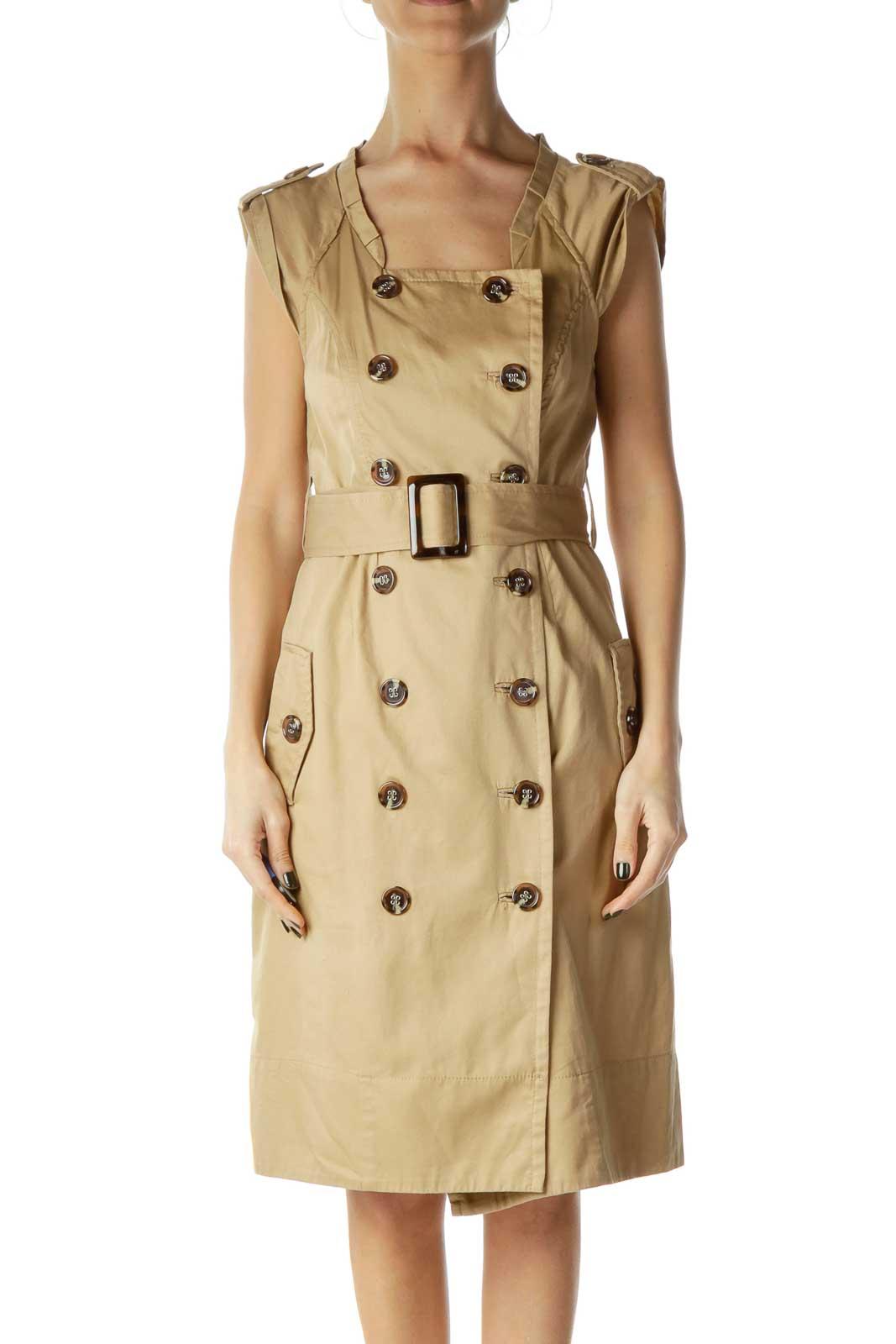 Beige Buttoned Shirt Dress Front