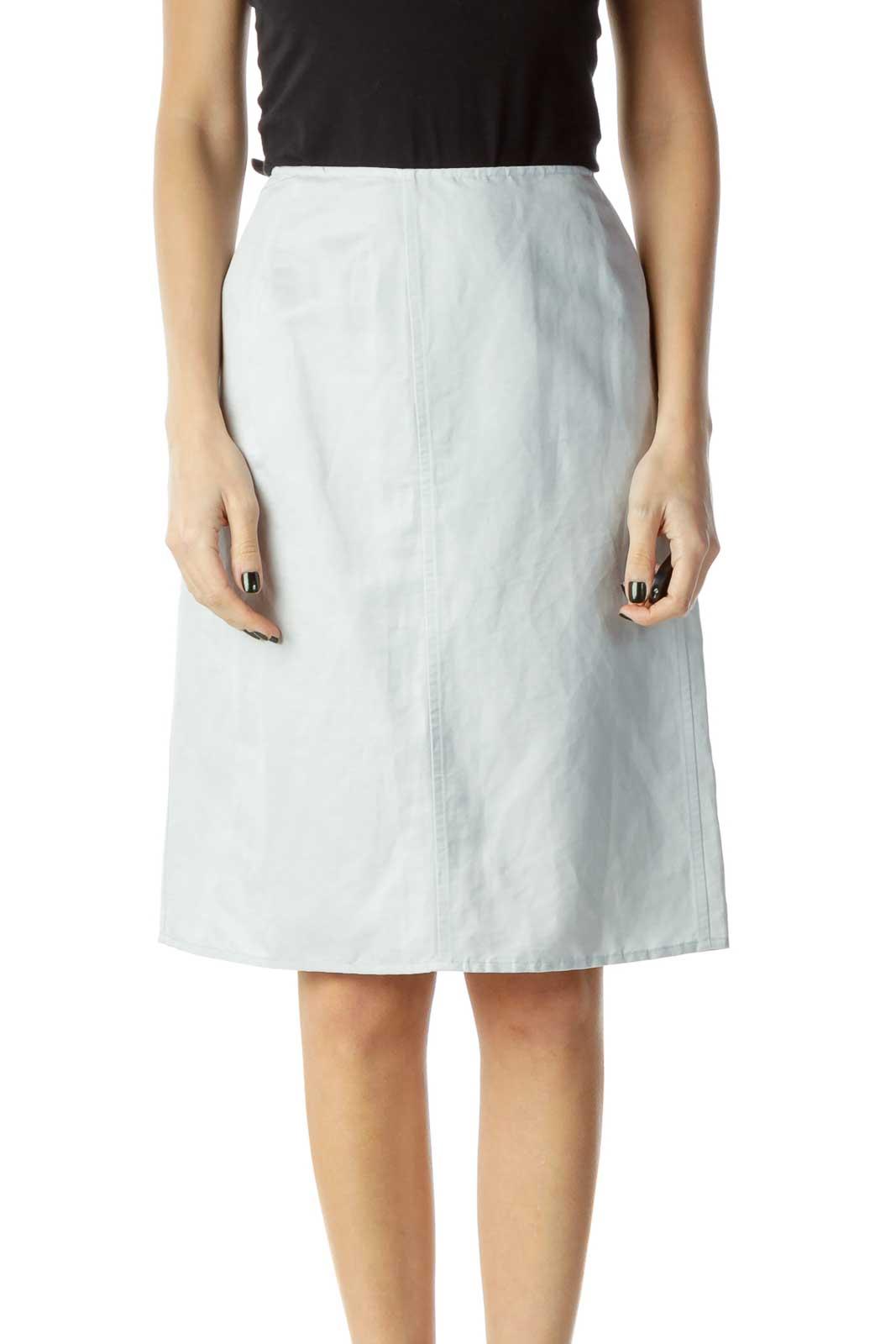 Blue Linen Pencil Skirt Front