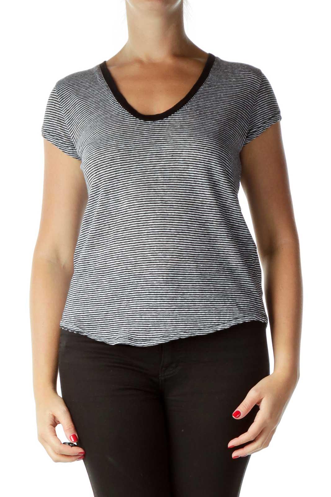Black Striped Linen T-Shirt Front