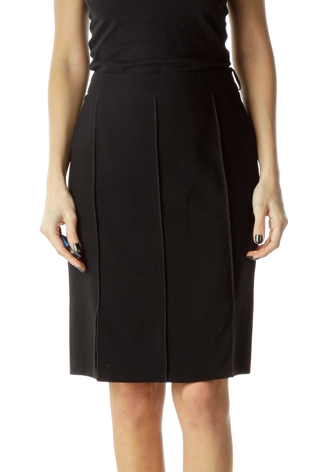 Black Pleated Pencil Skirt Front