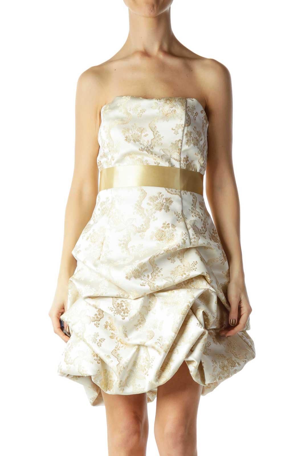 Gold Floral Print Pouf Cocktail Dress Front