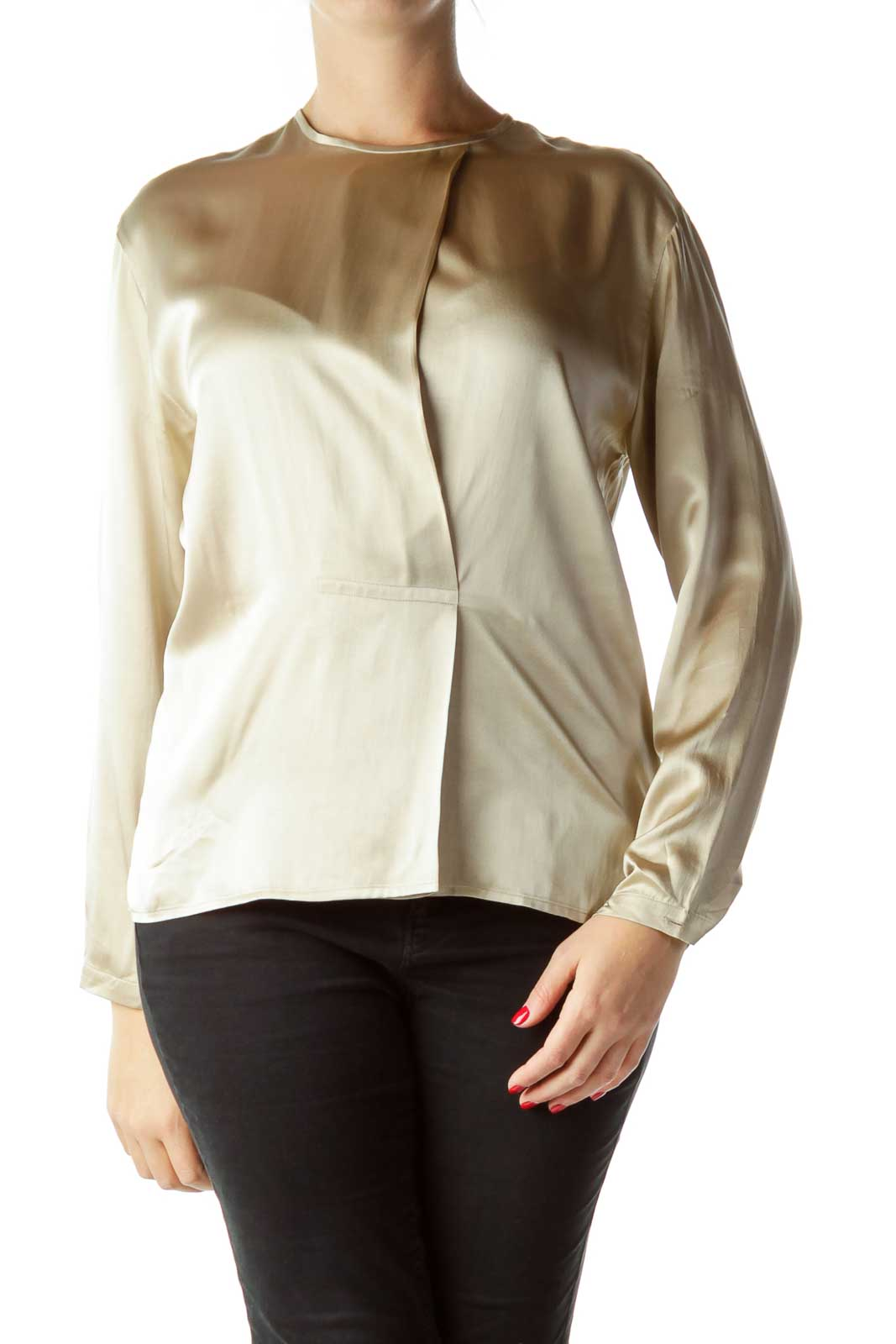 Gold Long Sleeve Silk Blouse Front