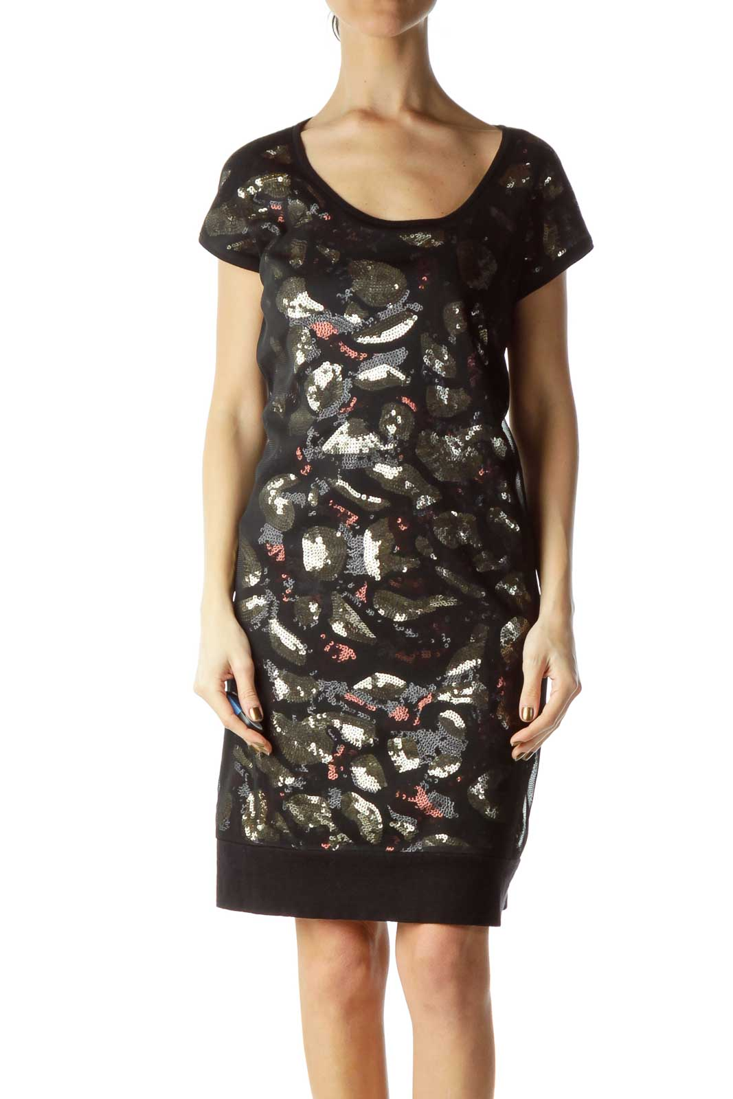 Black Brown Sequined Sheer Dress Front