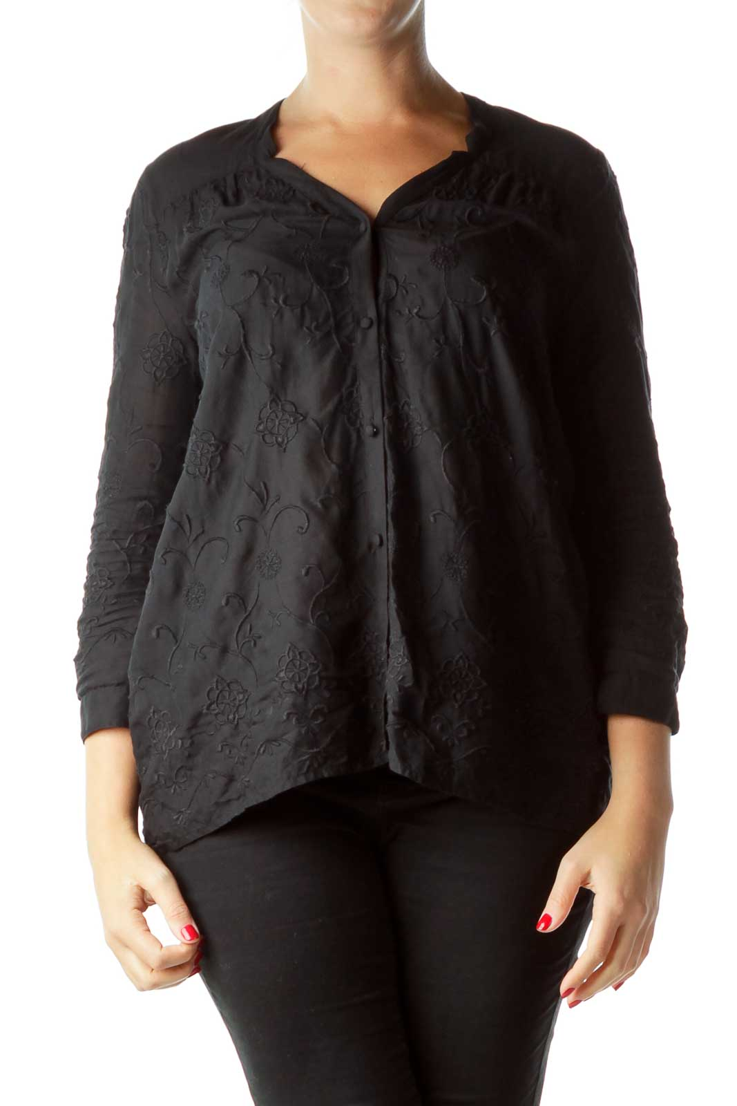 Black Embroidered  Buttoned Shirt Front