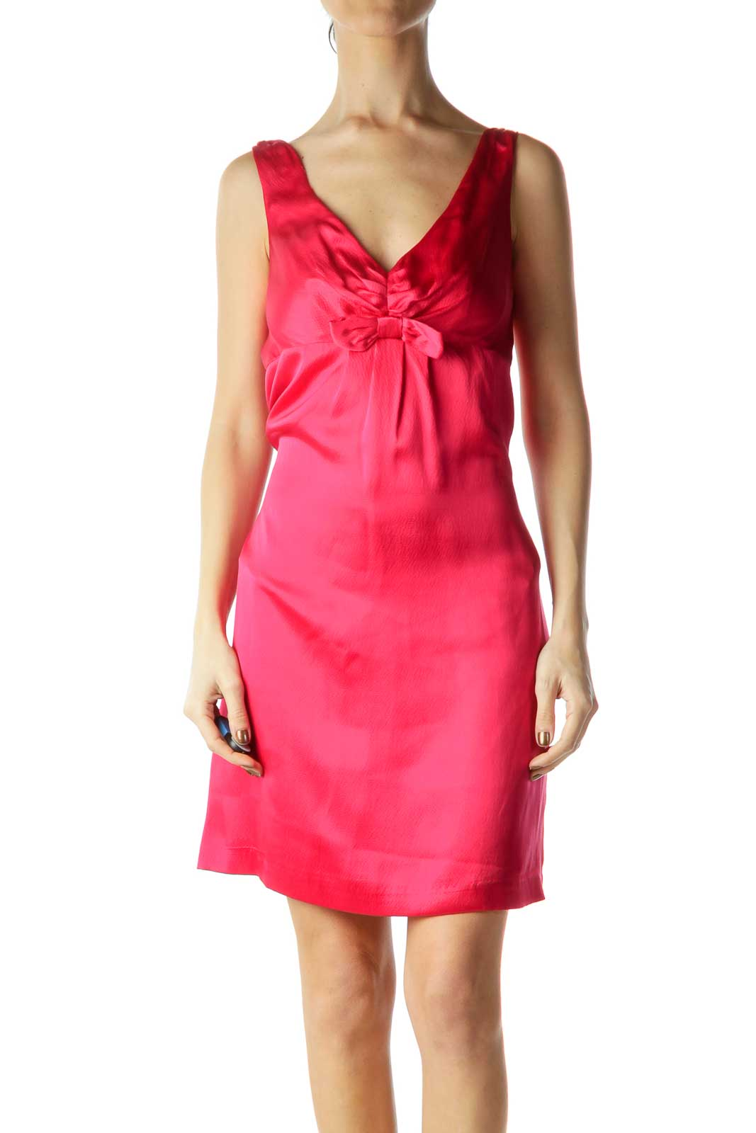 Pink Silk Cocktail Dress Front