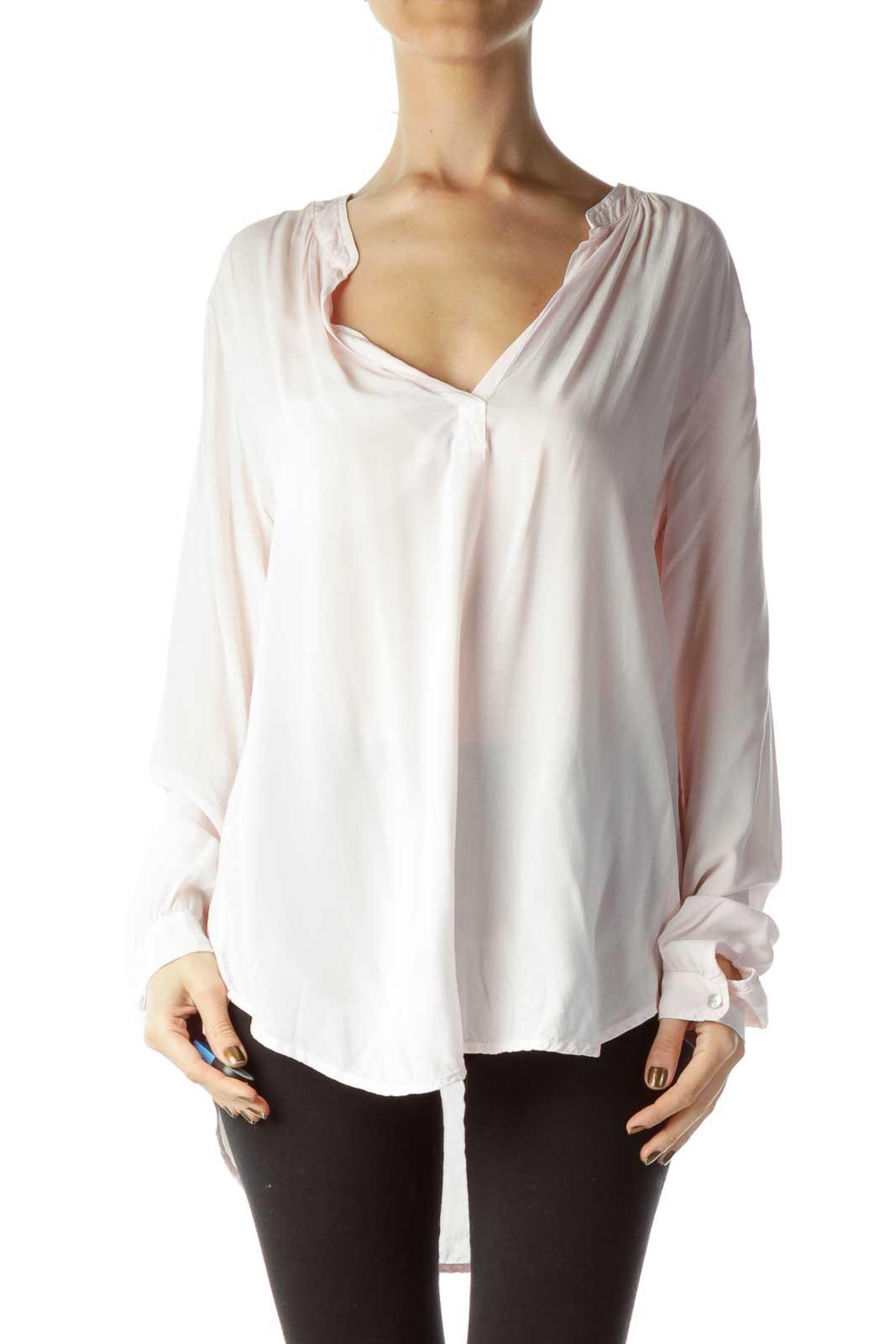 Pink V-Neck Long Sleeve Blouse Front
