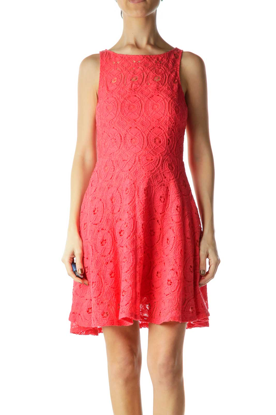 Pink Lace A-line Day Dress Front