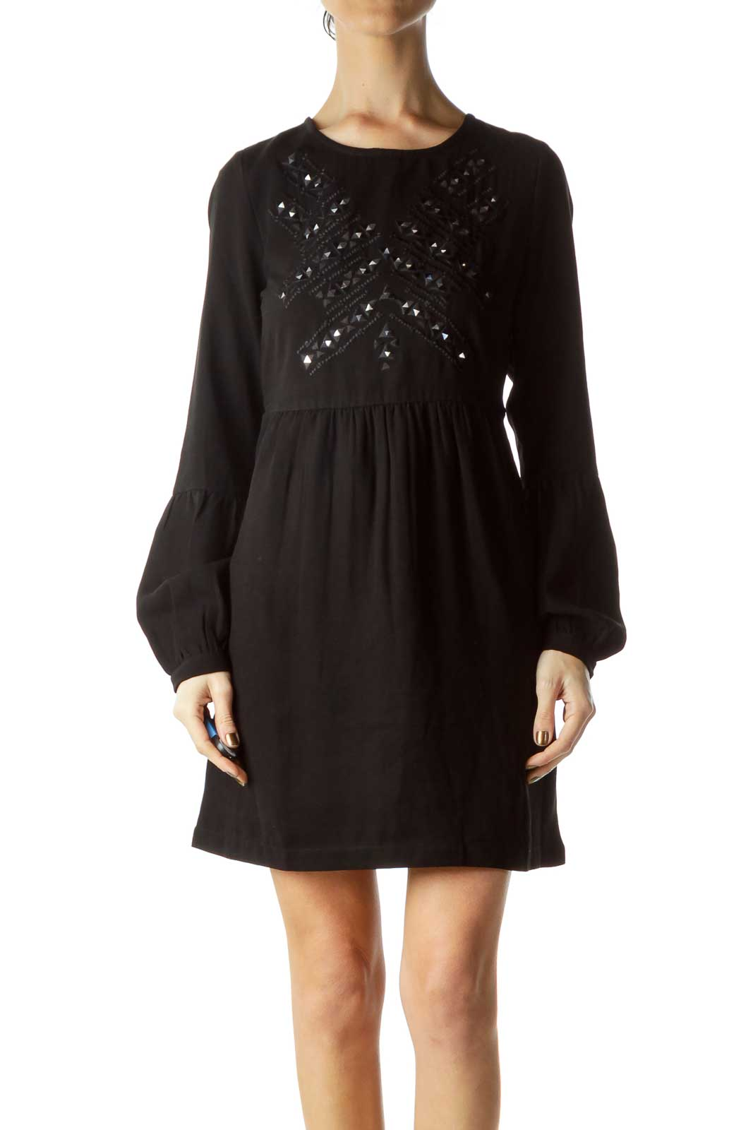 Black Holo Embroidered A-Line Dress Front