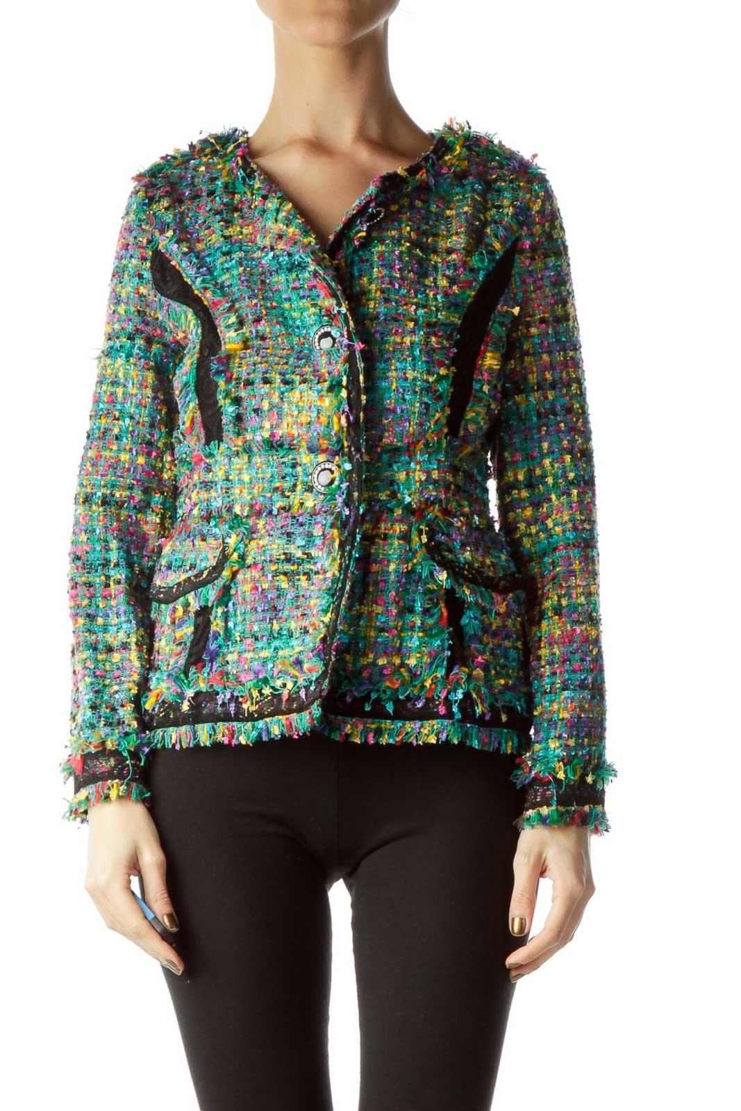 Multicolor Tweed Jacket Front