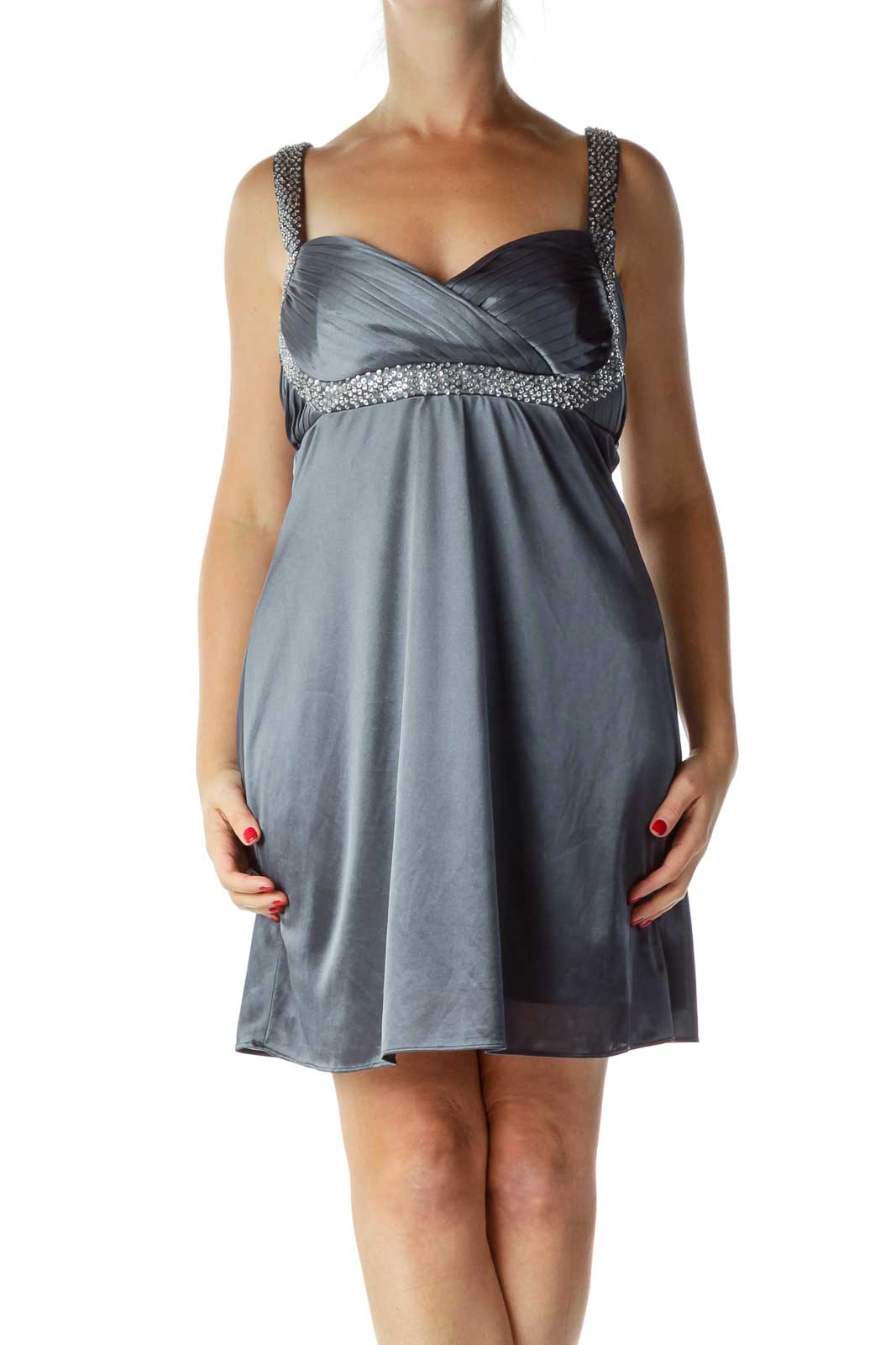 Gray Sequined Satin Cocktail Dress Front