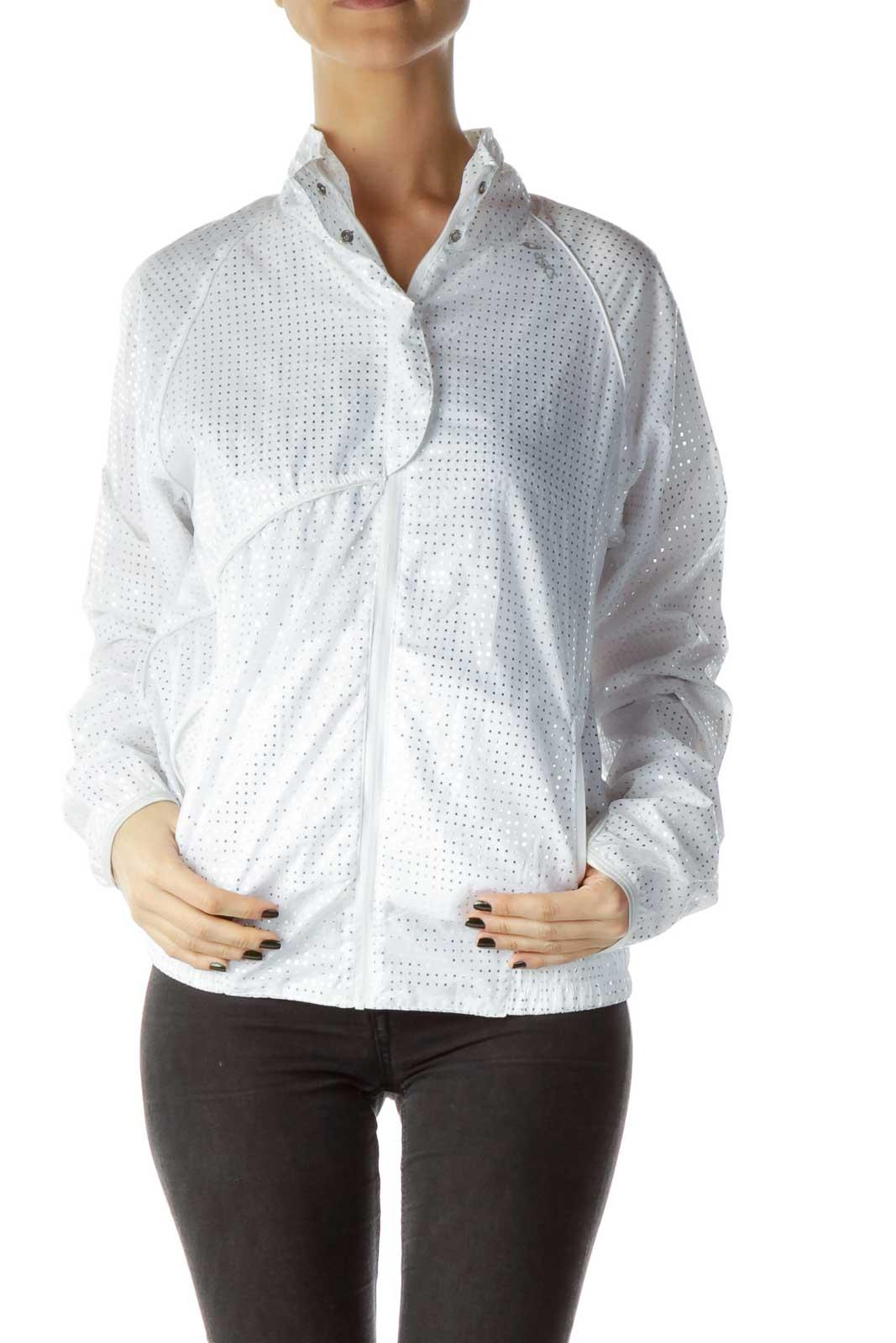 White Shiny Active Jacket Front