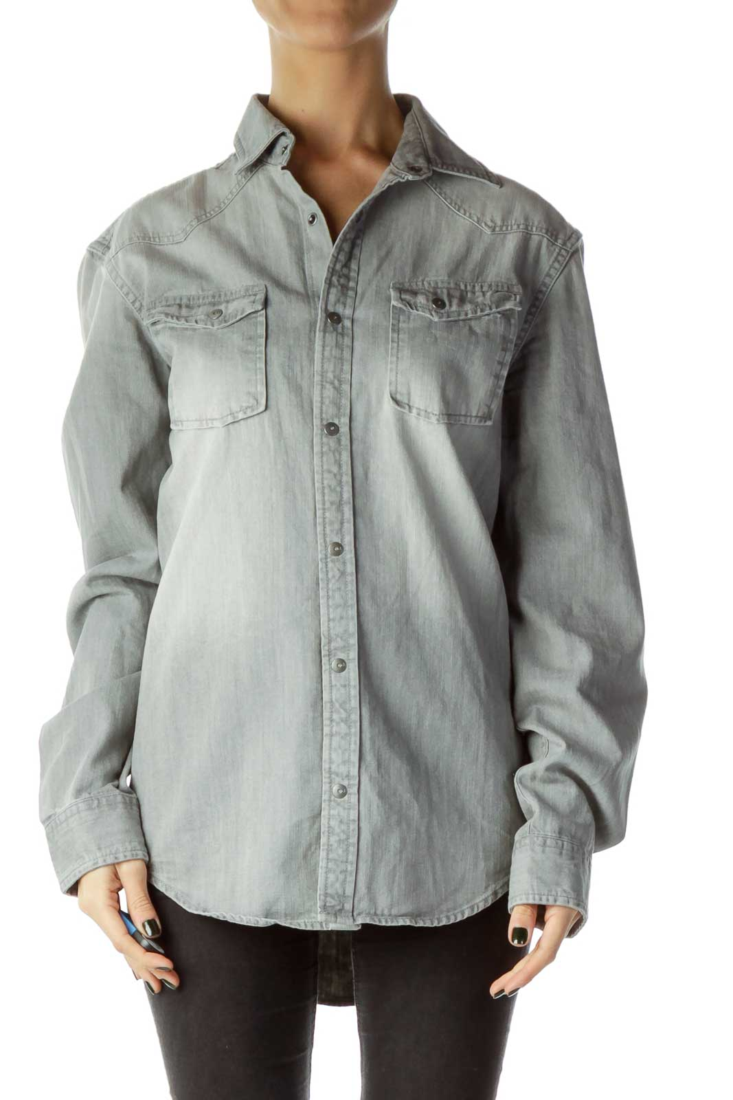 Gray Demin Shirt Front