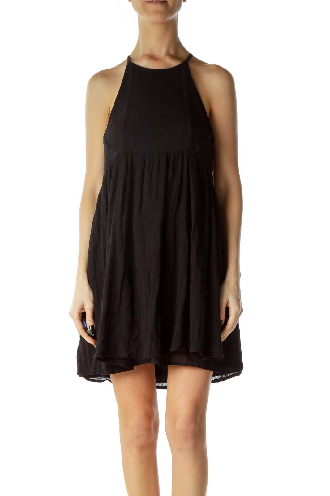 Black Racerback Linen Day Dress Front