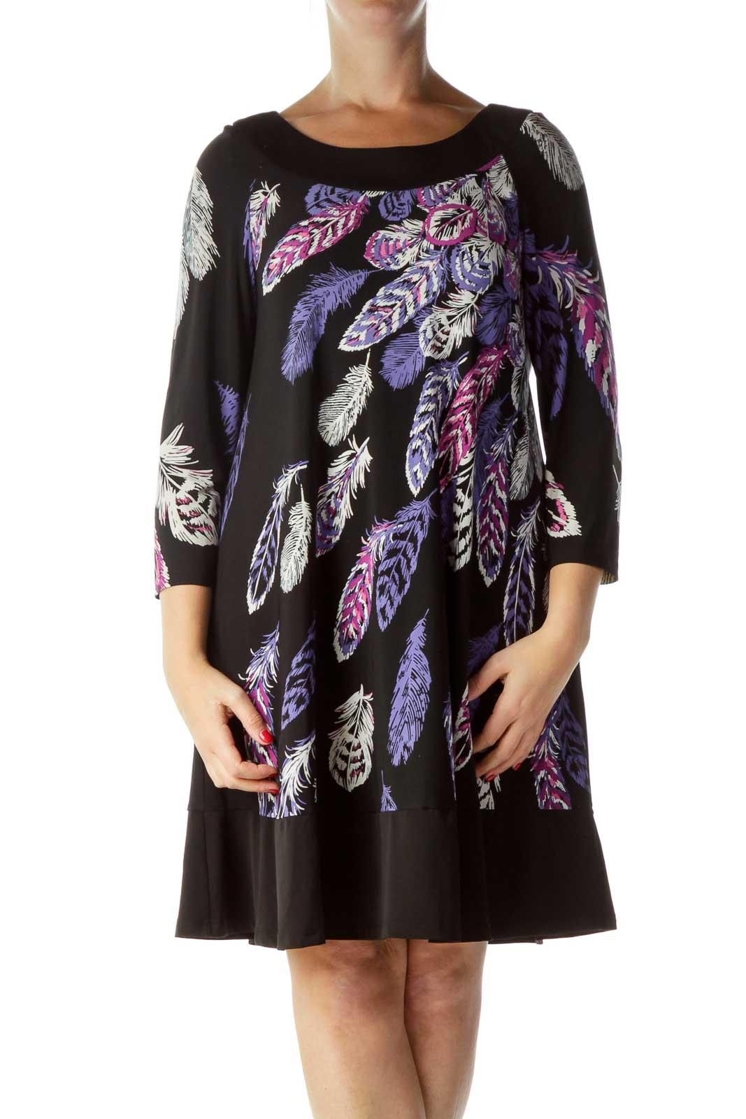 Black Purple Feather Print Long Sleeve Dress Front