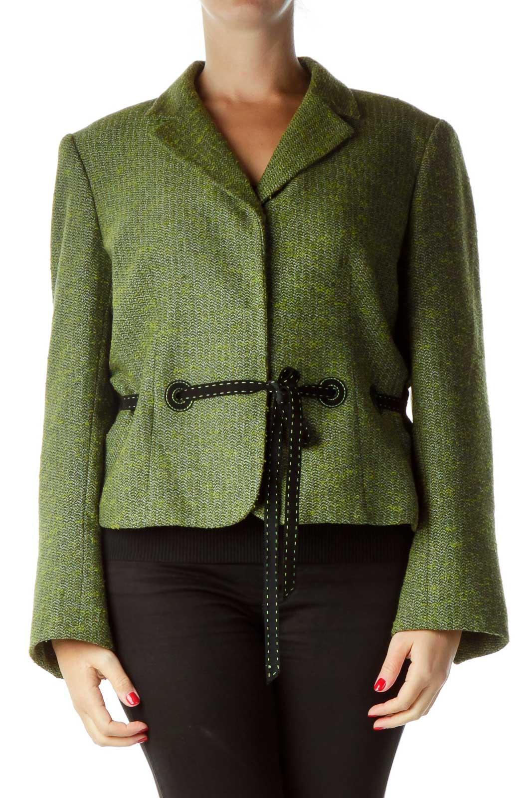 Green Tweed Suit Jacket Front