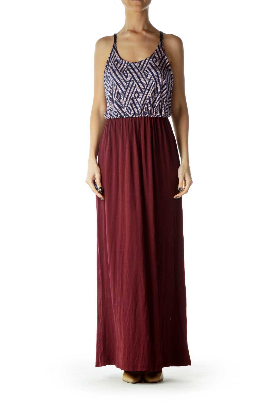 Purple Black Print Top Maxi Dress Front