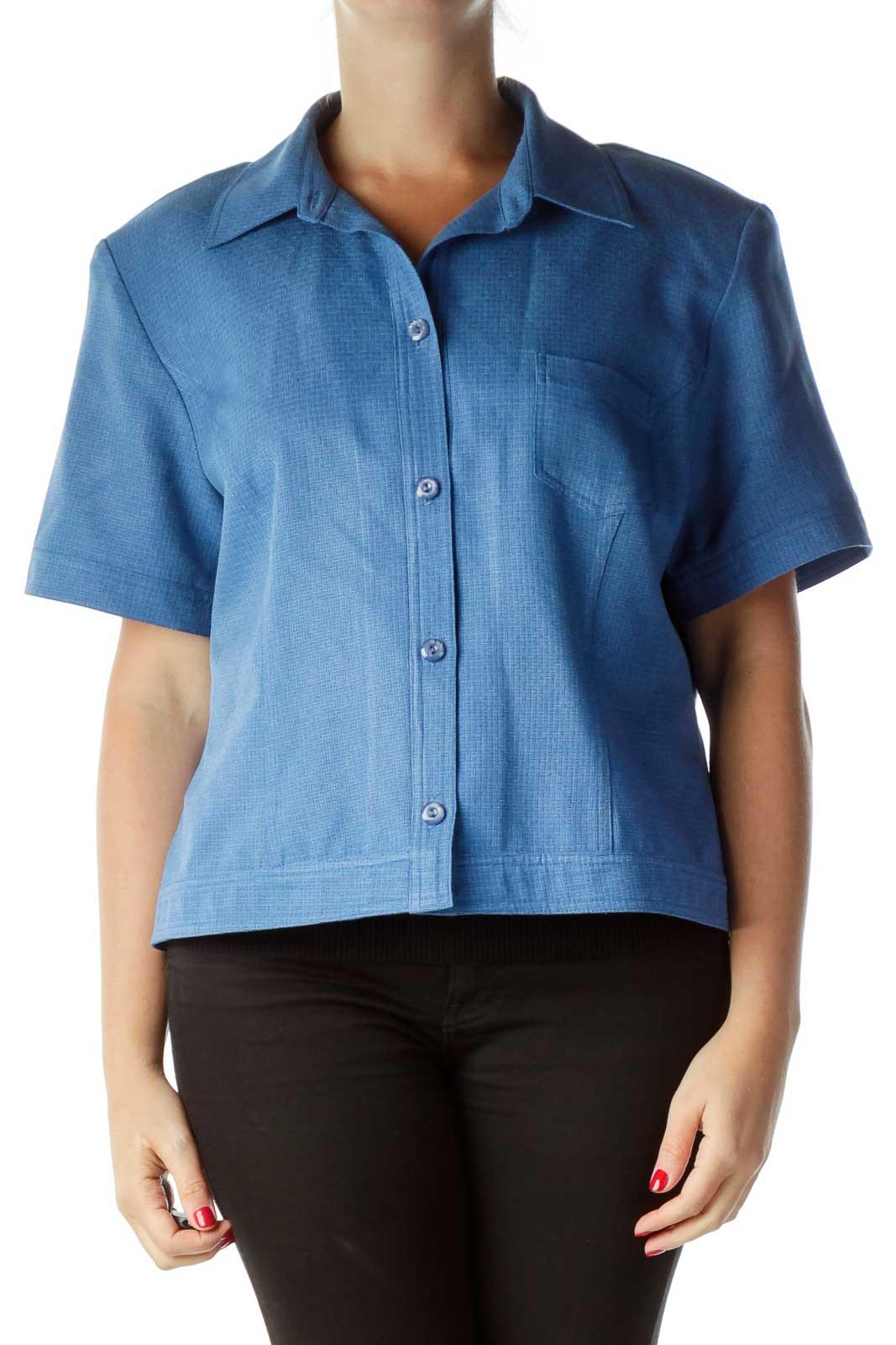 Blue Short Sleeve Suit Jacket Front
